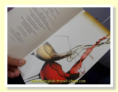 Thai Airways First Class menu of food and drinks