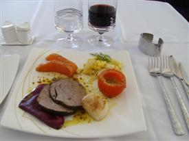Thai Airways first class table with the selection of entree