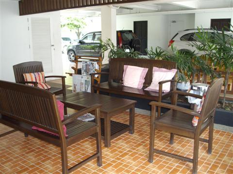 The shady reception are of the Ivory Suvarnabhumi Hotel