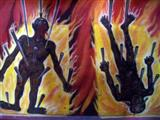 Graphic murals painted inside Hell in the Buddha image at Wat Bang Phli Yai Klang