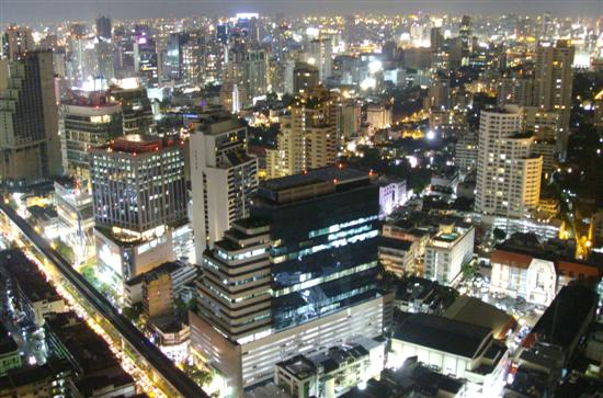 Bangkok at night viewed from the Emporium Suites