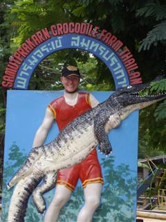 Bangkok crocodile farm photo opportunity