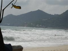 Chaweng beach with a rough sea