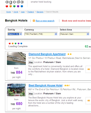 Agoda hotels can be filtered by Bangkok district