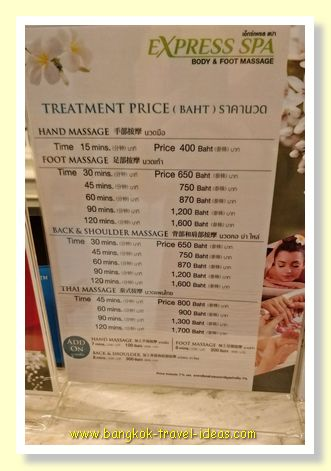 Express Spa Thai massage prices
