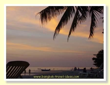 Sunset over a Bangkok beach