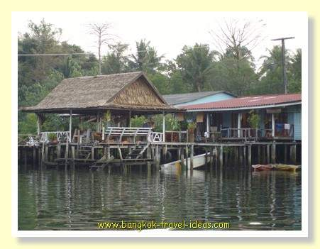 Houses on stilts at Klong Prao on Koh Chang. Here you can see Baan Rim Nahm