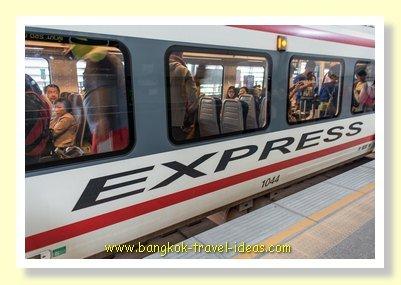Suvarnabhumi Airport to Bangkok on the ARL train