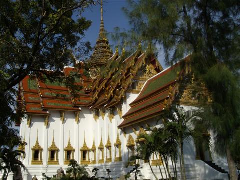 Bangkok Thailand Buddhist temple glistening in the sunshine