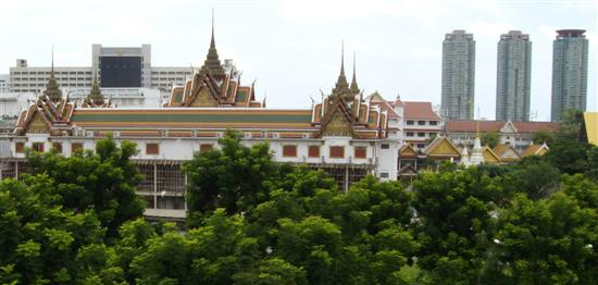 Wat Yannawa is an interesting Bangkok Buddhist temple and can be seen from the Saphan Taksin BTS station