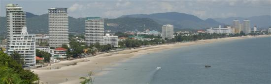 Hua Hin beach panorama from the top of Khao Takieb