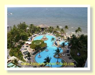 Hilton Hua Hin swimming pool from the upper floor bay view room