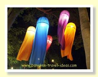 Colourful night lanterns at the Cicada Night market near Hua Hin