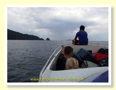 Lookout positioned at the front of the Kai Bae speedboat going to Ko Kut