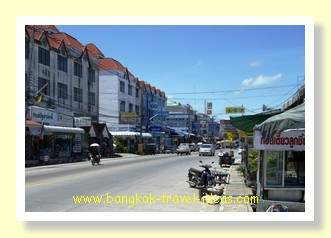 Main street of Ban Phe where you take the ferry to Koh Samet