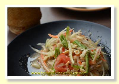 A favourite Thai dish is Somtam or papaya salad