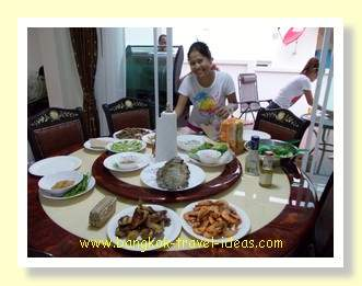 Thai seafood barbeque prepared in great style