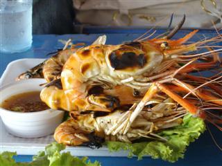 Pattaya beach has the biggest prawns I have ever seen