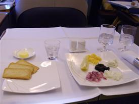 Thai Airways first class table set for dinner